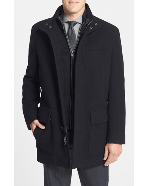 Cole Haan | Black Wool Blend Top Coat With Inset Bib for Men | Lyst