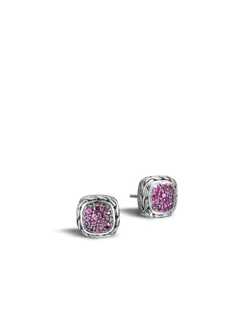 John Hardy | Classic Chain Stud Earring With Pink Sapphire | Lyst