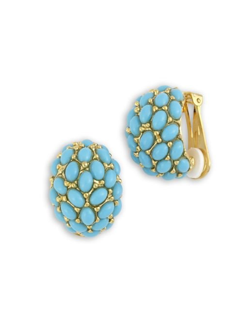 Kenneth Jay Lane | Blue Turquoise Cabochon Hoop Clip Earring | Lyst