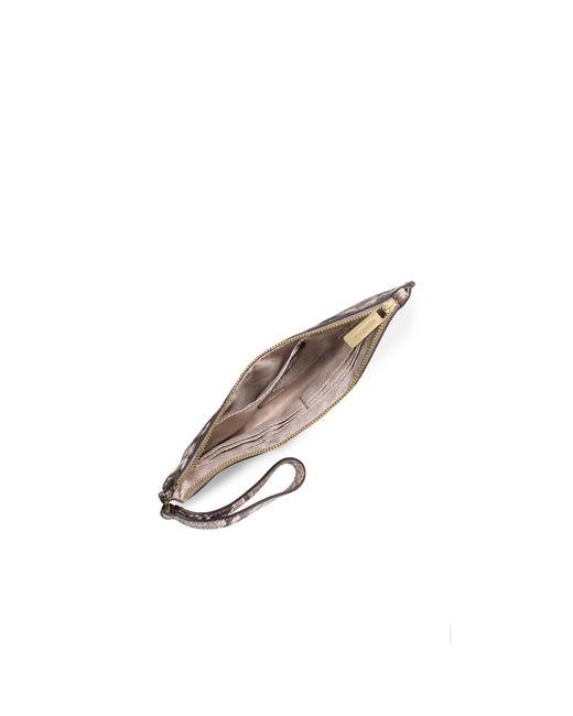 Michael Kors   Natural Bedford Large Embossed-leather Wristlet   Lyst