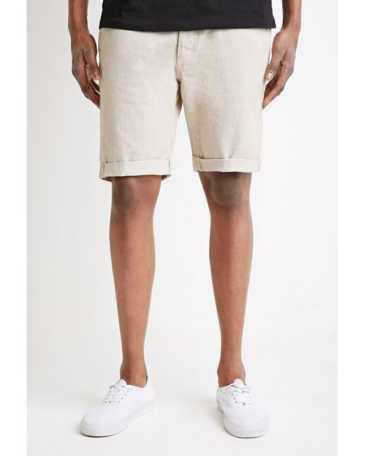 Forever 21 | Natural Clean Wash Cuffed Denim Shorts for Men | Lyst