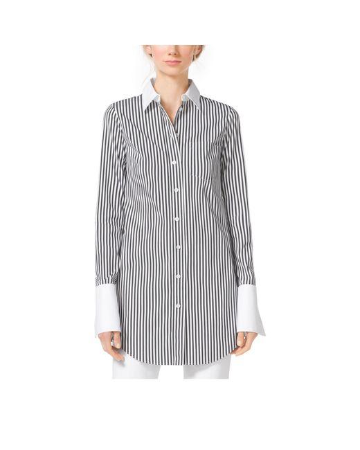 Michael Kors | Black Striped French Cuff Cotton-Poplin Shirt | Lyst
