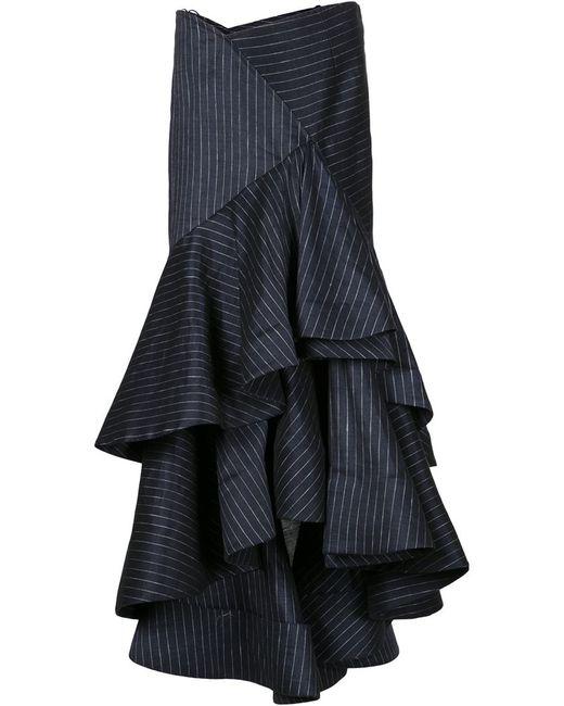 rosie assoulin layered ruffle skirt in blue lyst