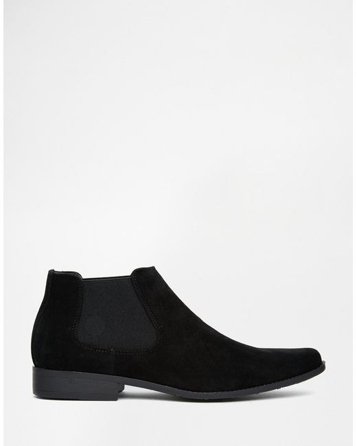 asos chelsea boots in black faux suede in black for lyst