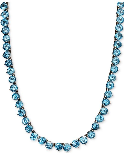 Macy's | Sterling Silver Necklace, Blue Topaz Necklace (45 Ct. T.w.) | Lyst
