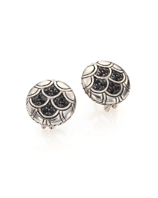 John Hardy | Metallic Naga Black Sapphire & Sterling Silver Button Earrings | Lyst