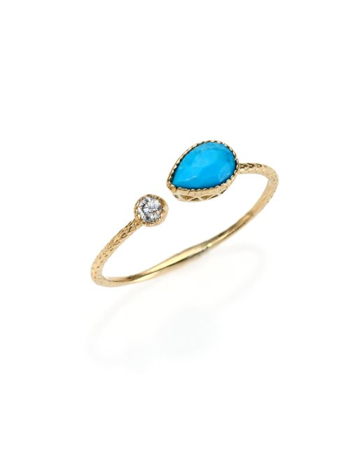 Jacquie Aiche | Blue Turquoise, Diamond & 14k Yellow Gold Teardrop Waif Wrap Ring | Lyst
