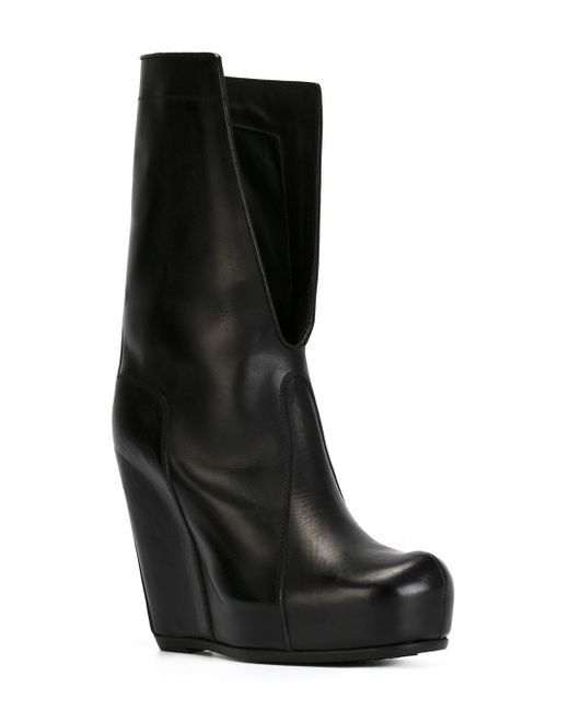 rick owens split leather wedge boots in black save 31