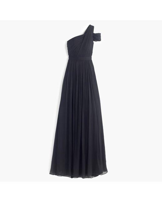 J.Crew | Black Cara Silk-Chiffon Maxi Dress | Lyst