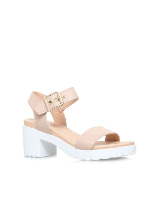 Carvela Kurt Geiger | Natural Karina Leather Block Heeled Sandals | Lyst