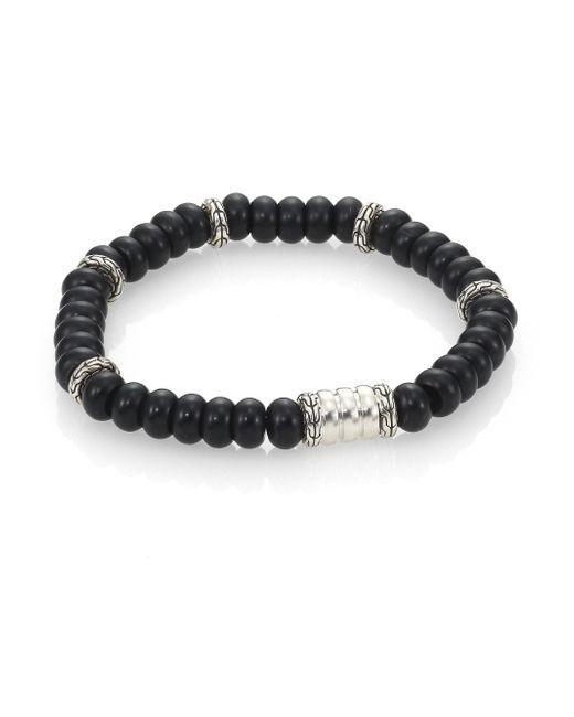 John Hardy   Batu Bedeg Sterling Silver Beaded Braceletfrosted Black Chalcedony for Men   Lyst