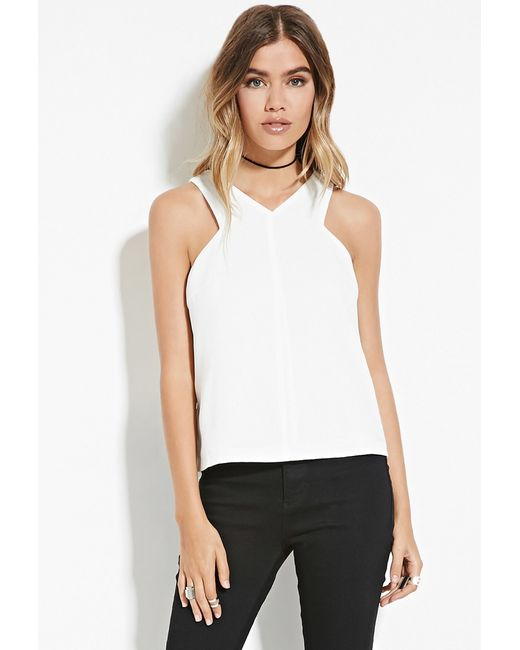 Forever 21 | White Tulip-back Textured Top | Lyst