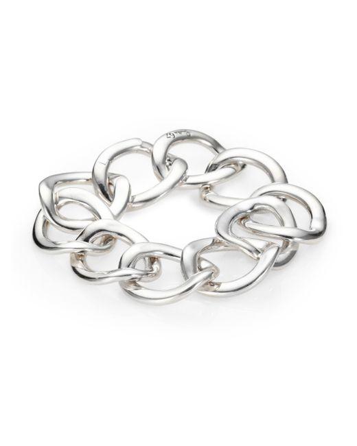 Pomellato | Metallic Sterling Silver Flat Chain Link Bracelet | Lyst