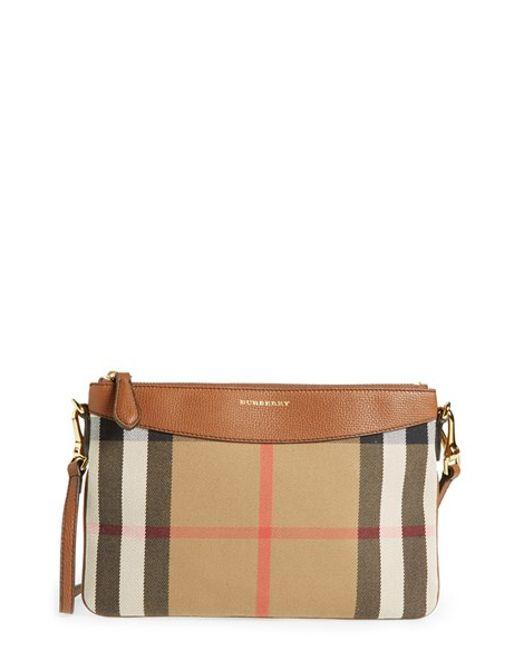 Burberry | Brown 'peyton - House Check' Crossbody Bag | Lyst