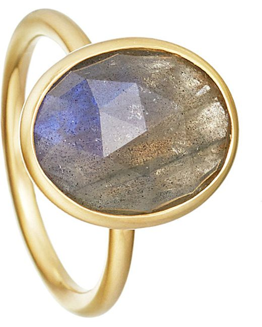 Astley Clarke | Metallic Labradorite Large Oval Stilla 18ct Yellow Gold-plated Ring | Lyst