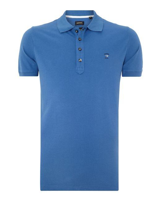 DIESEL | Blue T-yahei Metal Logo Polo Shirt for Men | Lyst