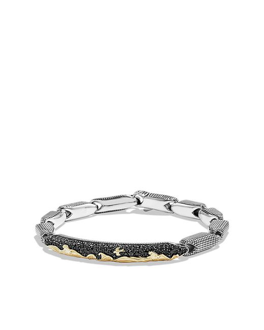 David Yurman | Metallic Pave Id Bracelet With 18k Gold And Black Diamonds for Men | Lyst