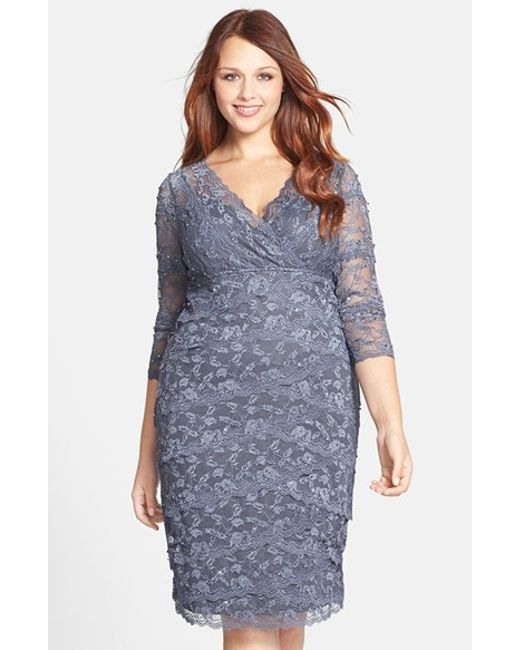 Marina | Gray Embellished Lace Dress | Lyst