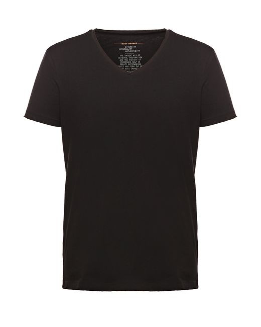 BOSS Orange | Black Cotton T-shirt With V-neck: 'tooley' for Men | Lyst