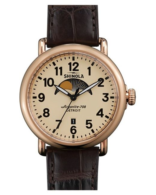 Shinola | Brown The Runwell Moon Phase Alligator Strap Watch | Lyst