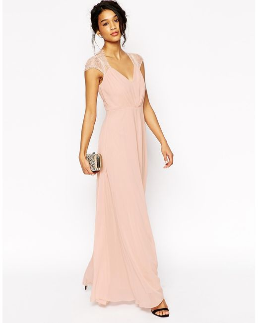 ASOS | Pink Kate Lace Maxi Dress - Nude | Lyst