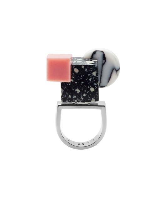 Eshvi | Multicolor Back To School Pastel Marble Shapes Ring | Lyst
