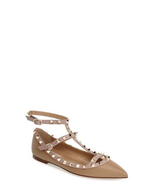 Valentino | Brown Rockstud T-Bar Ballet Flats | Lyst