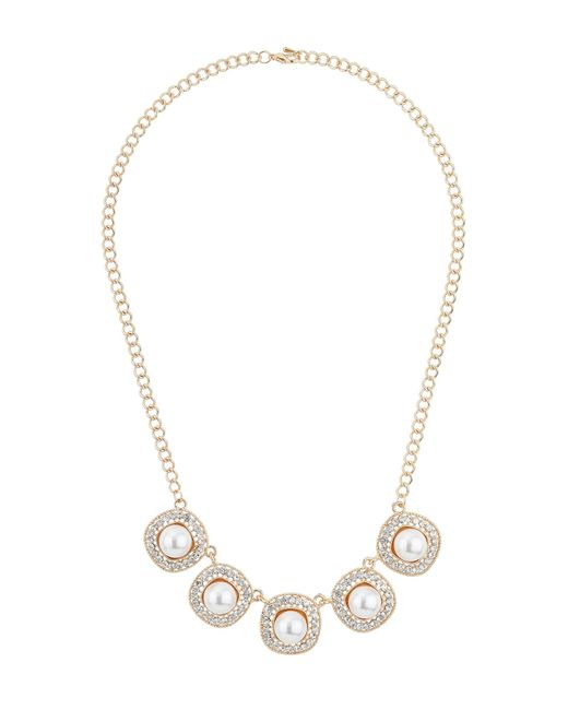 Mikey | Metallic Square Raised Pearl Crystal Linked Neckl | Lyst