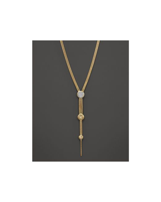 "John Hardy | Metallic Palu 18k Gold Diamond Pave Long Drop Pendant Necklace, 17"" | Lyst"