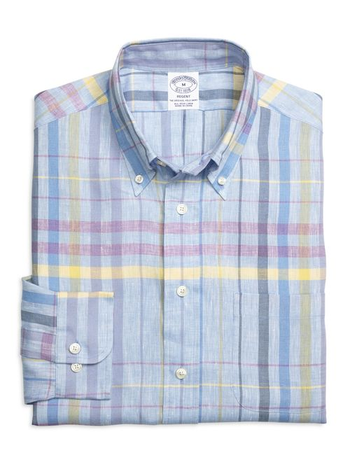 Brooks Brothers | Blue Madison Fit Plaid Linen Sport Shirt for Men | Lyst