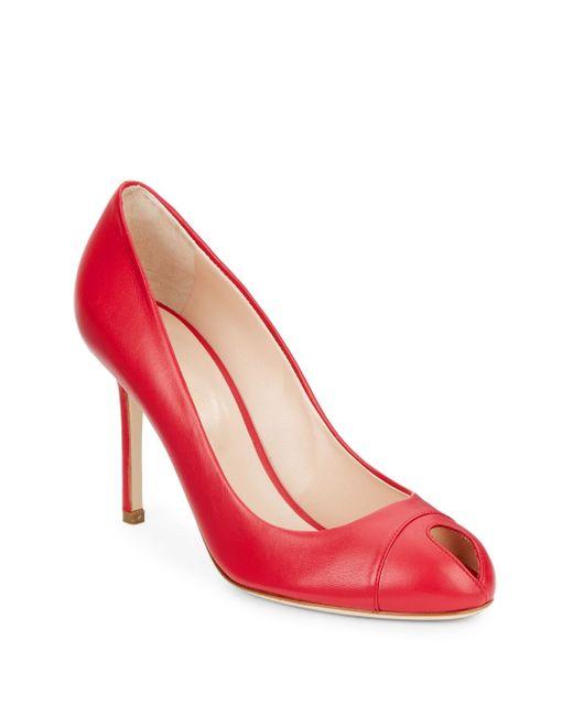 Sergio Rossi | Pink Leather Peep-toe Pumps | Lyst
