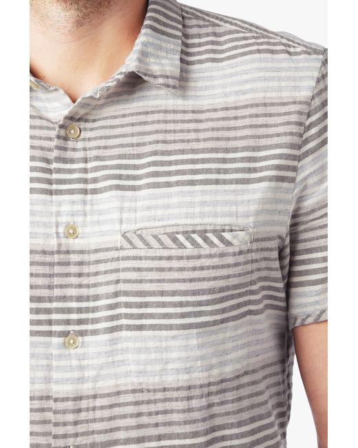 7 for all mankind short sleeve horizontal stripe shirt in for Horizontal striped dress shirts men