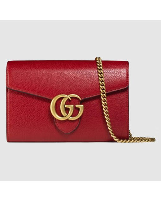 db9af5403044e5 Gg Marmont Leather Mini Chain Bag Red | Stanford Center for ...