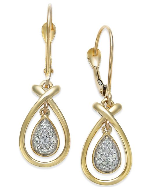 Macy's | Metallic Diamond Accent Frame Drop Earrings In 10k Gold | Lyst