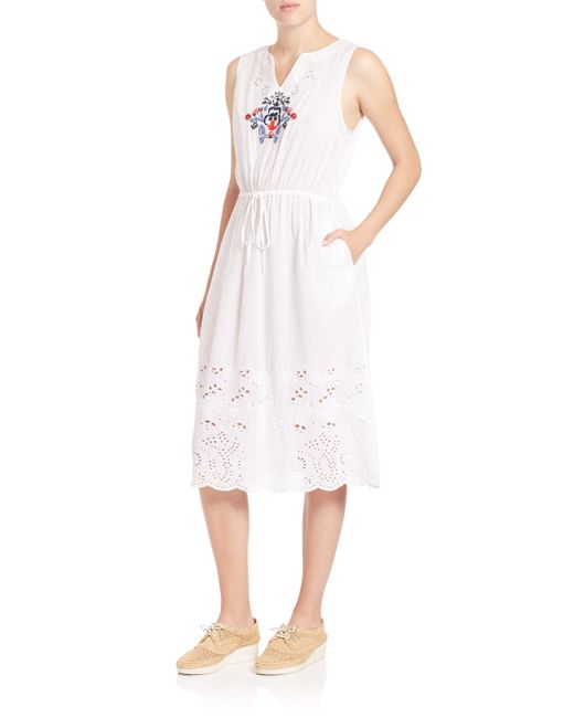 Suno embroidered laser cut dress in white lyst
