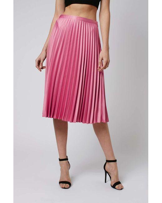 topshop satin pleat midi skirt in pink lyst
