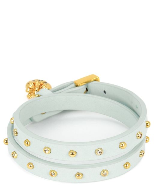 Juicy Couture | Blue Studded Leather Double Wrap Bracelet | Lyst