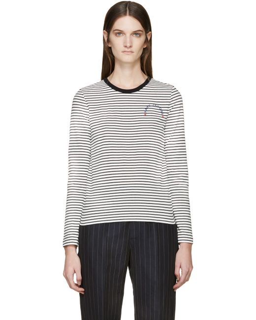 Marc Jacobs Black And White Long Sleeve Striped T Shirt In
