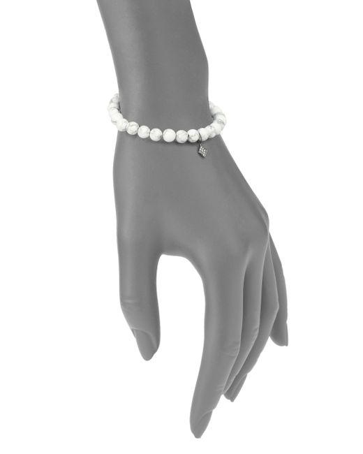 Sydney Evan | Diamond, Howlite & Blackened 14k White Gold Kite Beaded Stretch Bracelet | Lyst