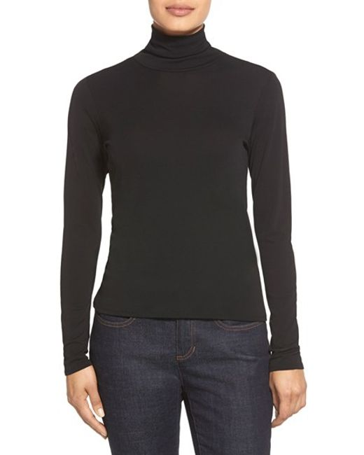 Eileen Fisher | Black Scrunch Neck Silk Top | Lyst