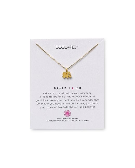 "Dogeared | Metallic Swarovski Crystal Good Luck Elephant Necklace, 18"" | Lyst"