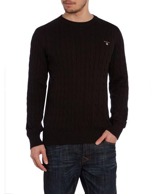 GANT | Black Crew Neck Cable Knit Jumper for Men | Lyst