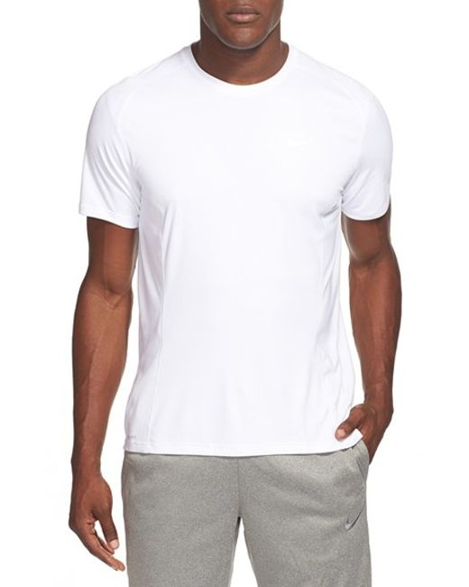 Nike 39 miler 39 dri fit uv protection t shirt in white for for Uv protection t shirt
