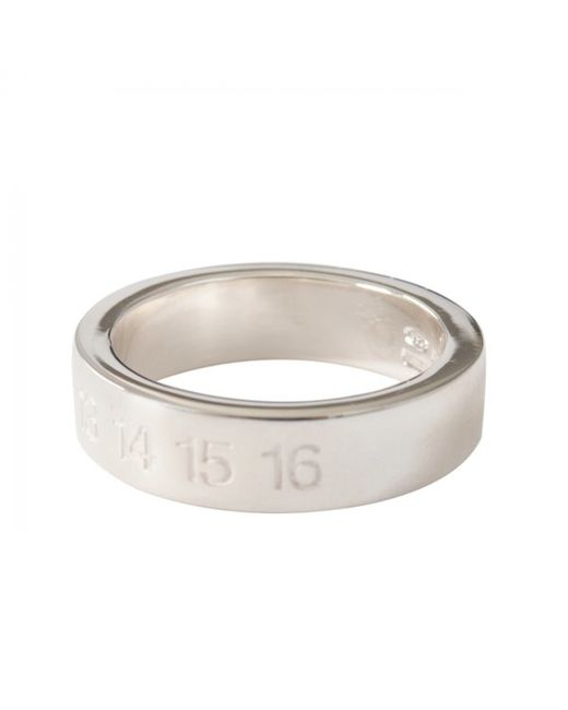 Maison Margiela | Metallic Banded Argento Numbers Ring Silver for Men | Lyst