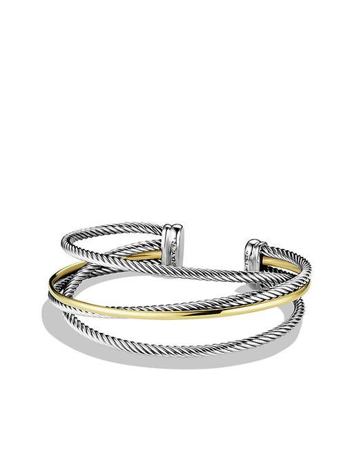 David Yurman | Metallic Crossover Three-row Cuff Bracelet With 18k Gold, 18mm | Lyst