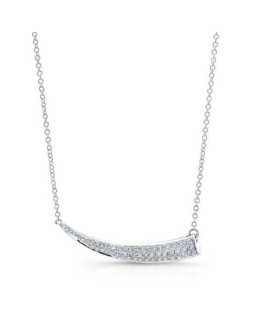 Anne Sisteron - Metallic 14kt White Gold Diamond Sideways Horn Necklace - Lyst