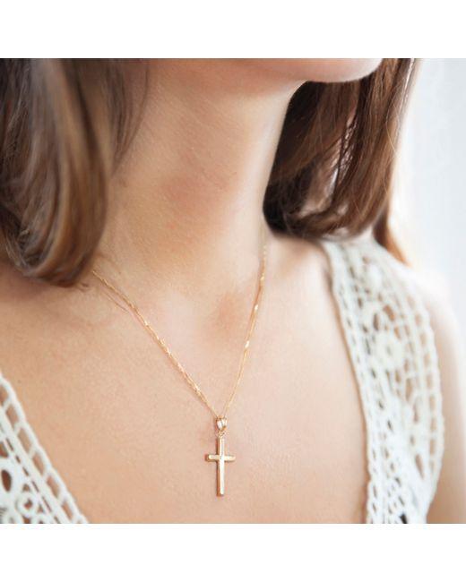 Ib&b   Metallic 9ct Yellow Gold Cross Pendant Necklace   Lyst