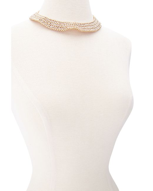 Forever 21 | Metallic Stacked Rhinestone Collar Necklace | Lyst