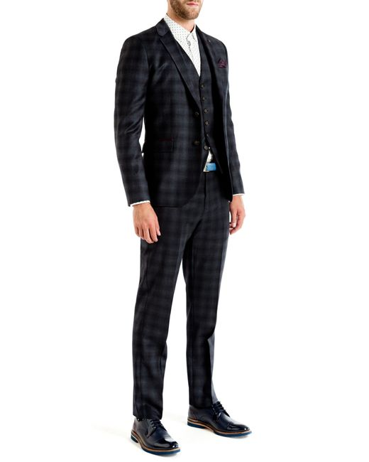Ted Baker | Black Yonkwai Checked Wool Waistcoat for Men | Lyst