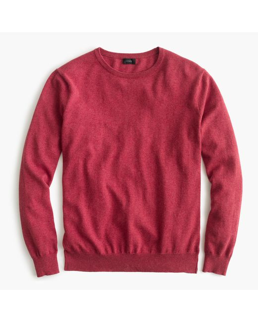 J.Crew   Red Tall Cotton-cashmere Crewneck Sweater for Men   Lyst